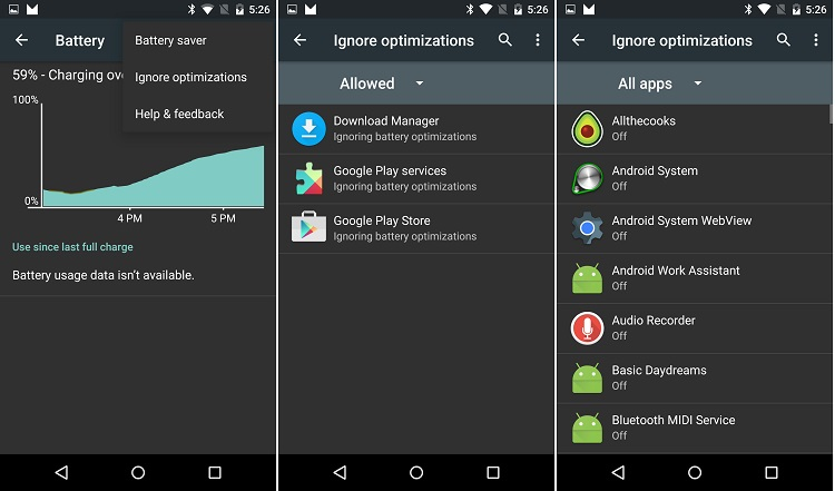 Android M Ignore Optimizations